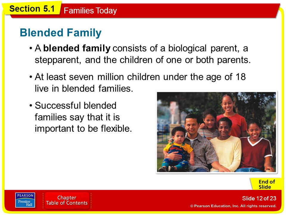 Blended Family A blended family consists of a biological parent, a stepparent, and the children of one or both parents.