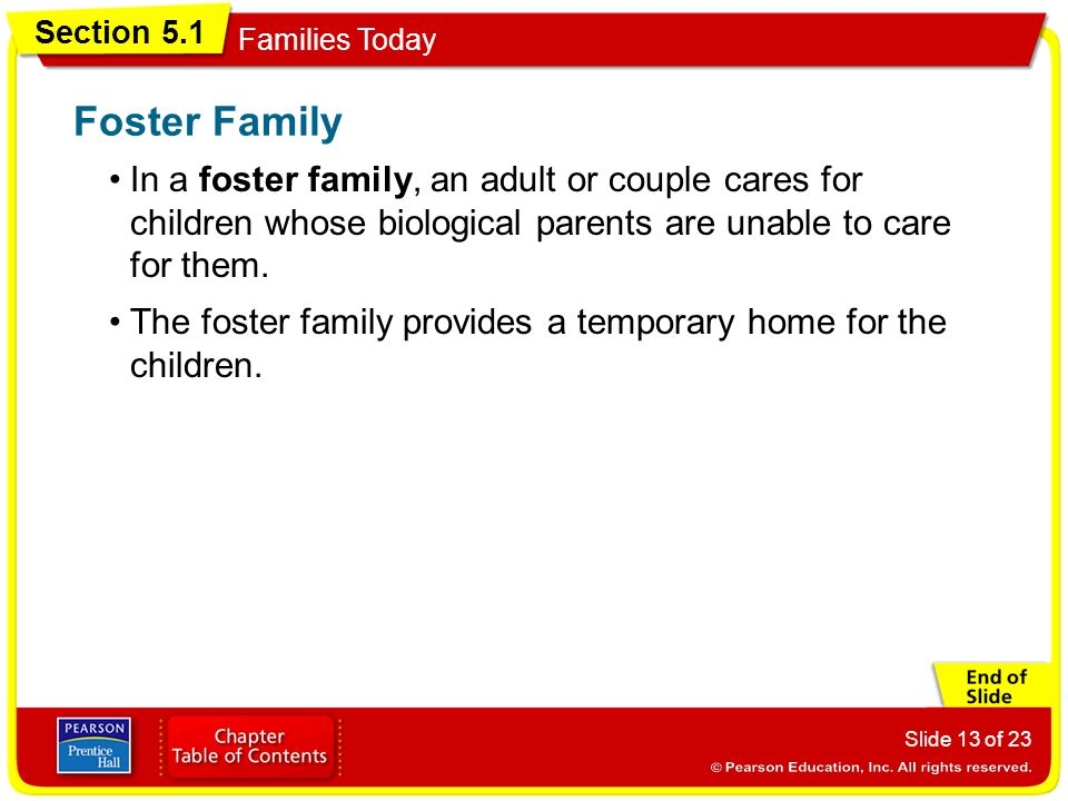 Foster Family In a foster family, an adult or couple cares for children whose biological parents are unable to care for them.
