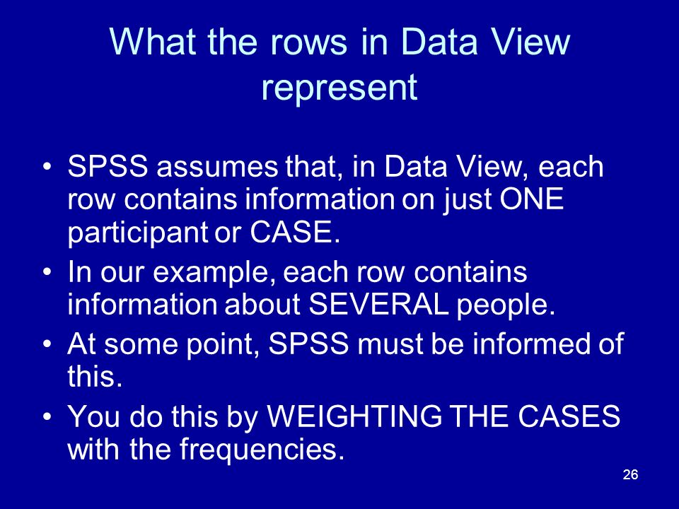 What the rows in Data View represent