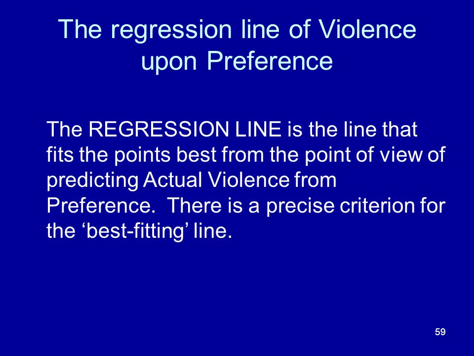 The regression line of Violence upon Preference