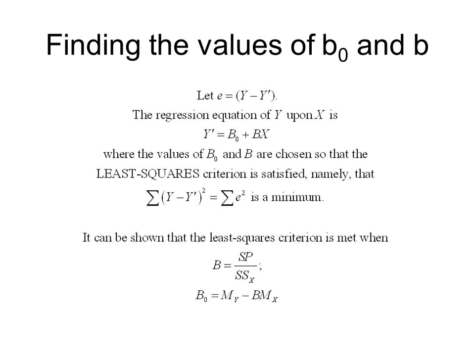 Finding the values of b0 and b