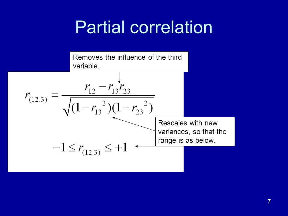Partial correlation Removes the influence of the third variable.