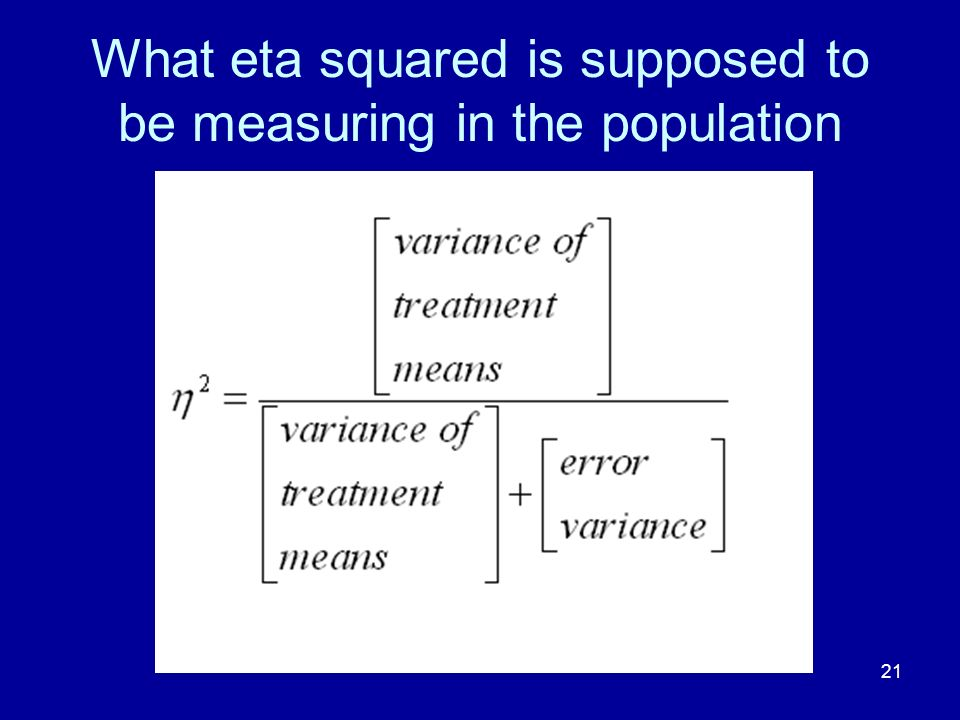 What eta squared is supposed to be measuring in the population