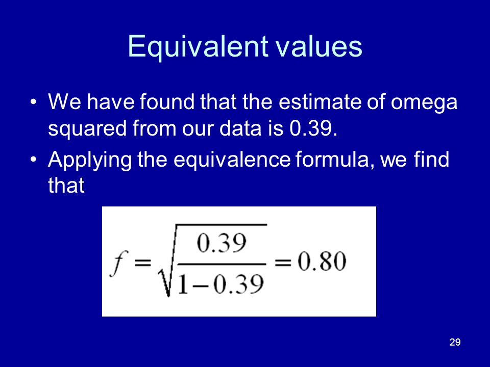 Equivalent values We have found that the estimate of omega squared from our data is 0.39.