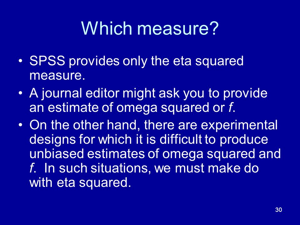 Which measure SPSS provides only the eta squared measure.