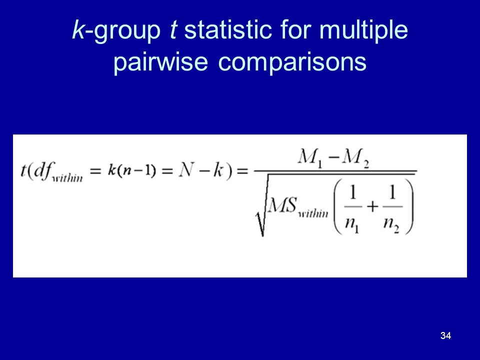 k-group t statistic for multiple pairwise comparisons