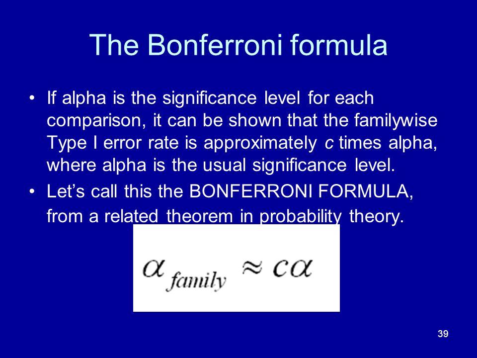 The Bonferroni formula