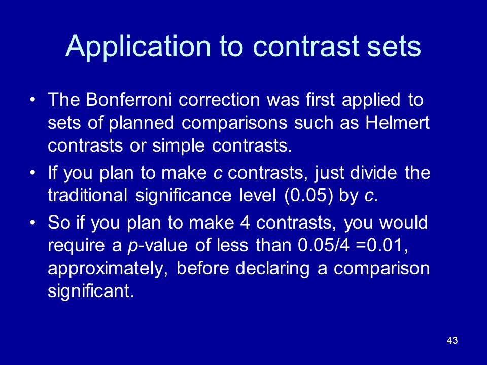 Application to contrast sets