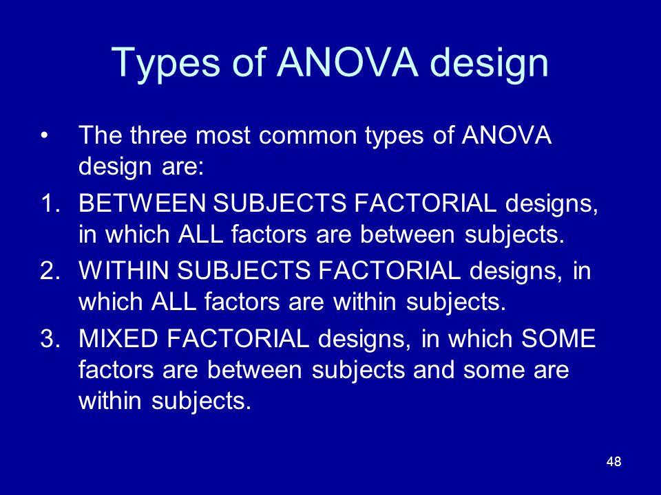 Types of ANOVA design The three most common types of ANOVA design are: