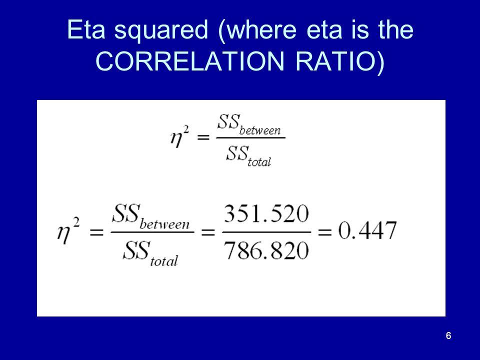 Eta squared (where eta is the CORRELATION RATIO)