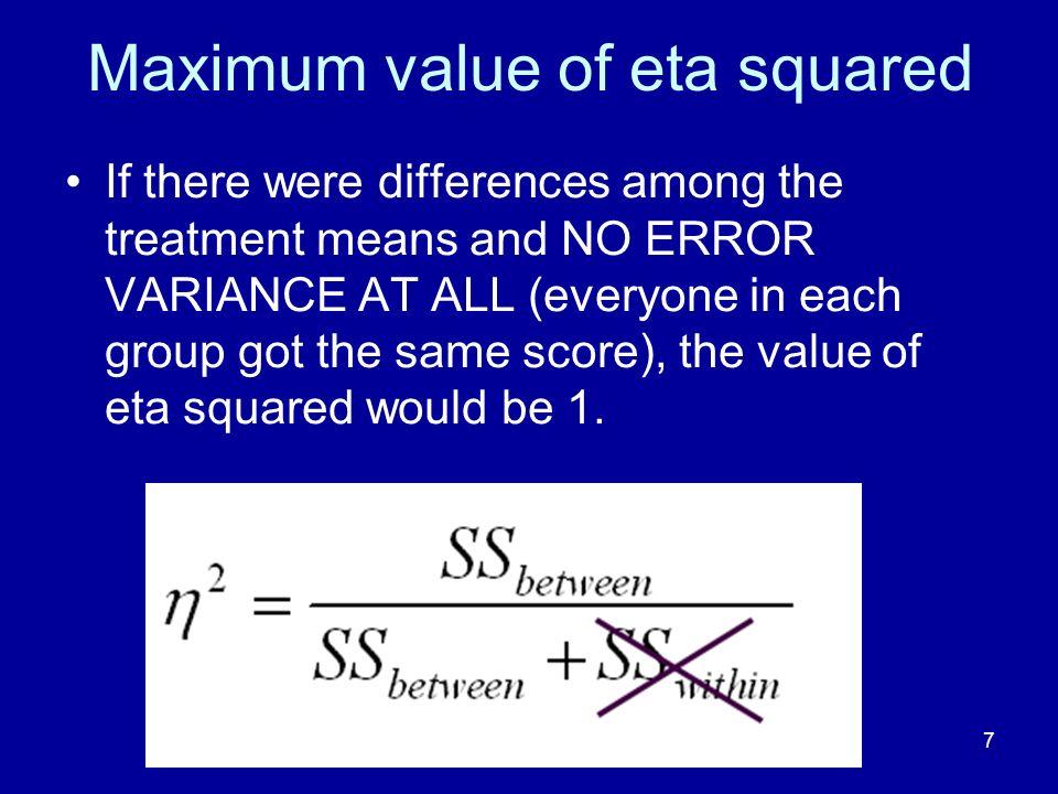 Maximum value of eta squared