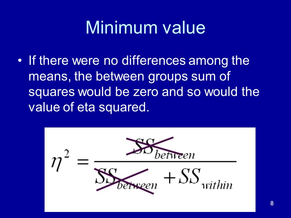 Minimum value If there were no differences among the means, the between groups sum of squares would be zero and so would the value of eta squared.
