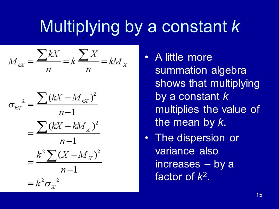 Multiplying by a constant k