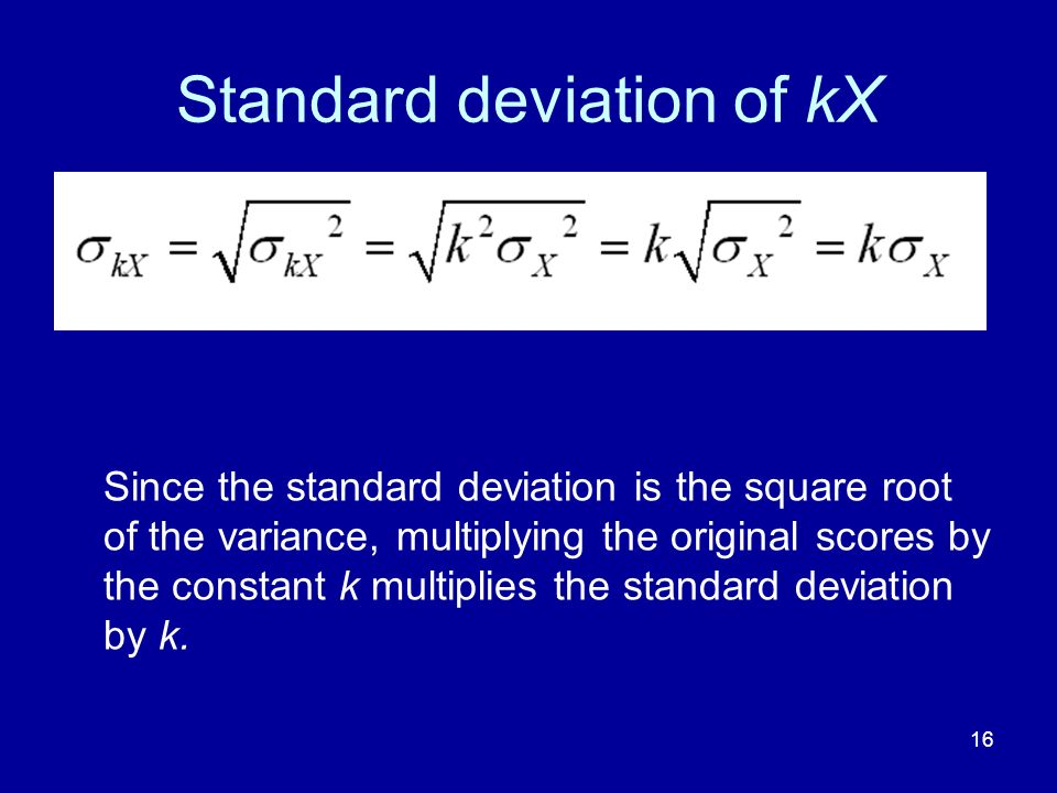 Standard deviation of kX