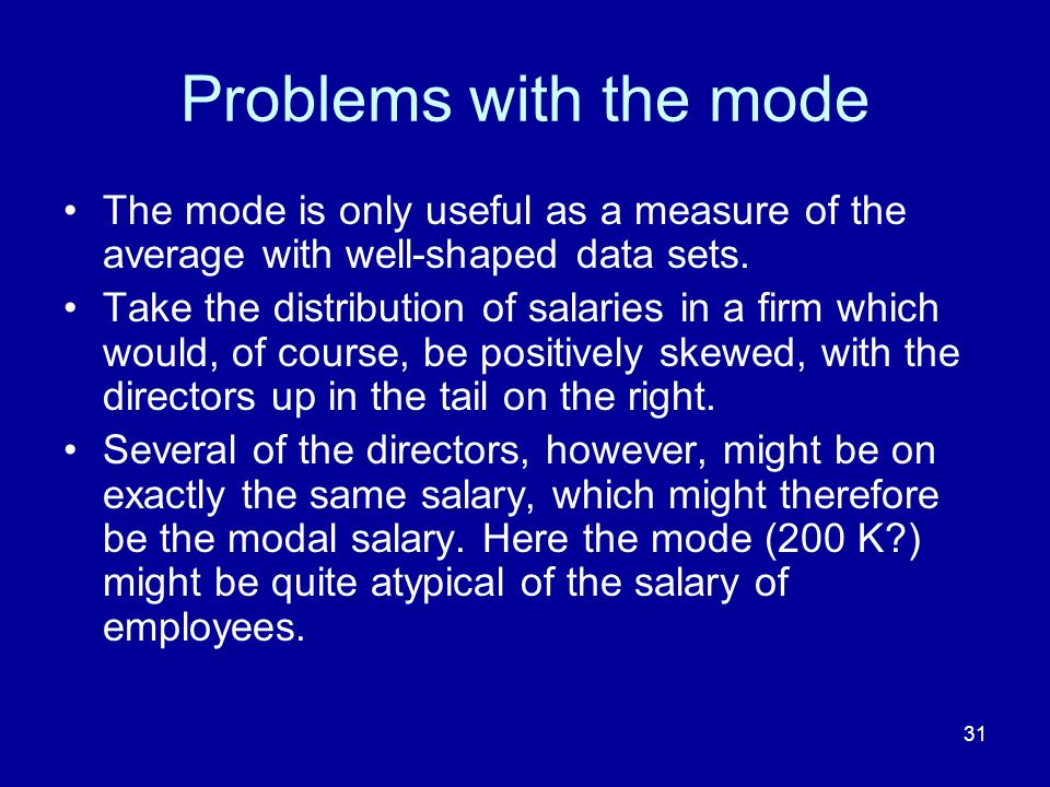 Problems with the mode The mode is only useful as a measure of the average with well-shaped data sets.