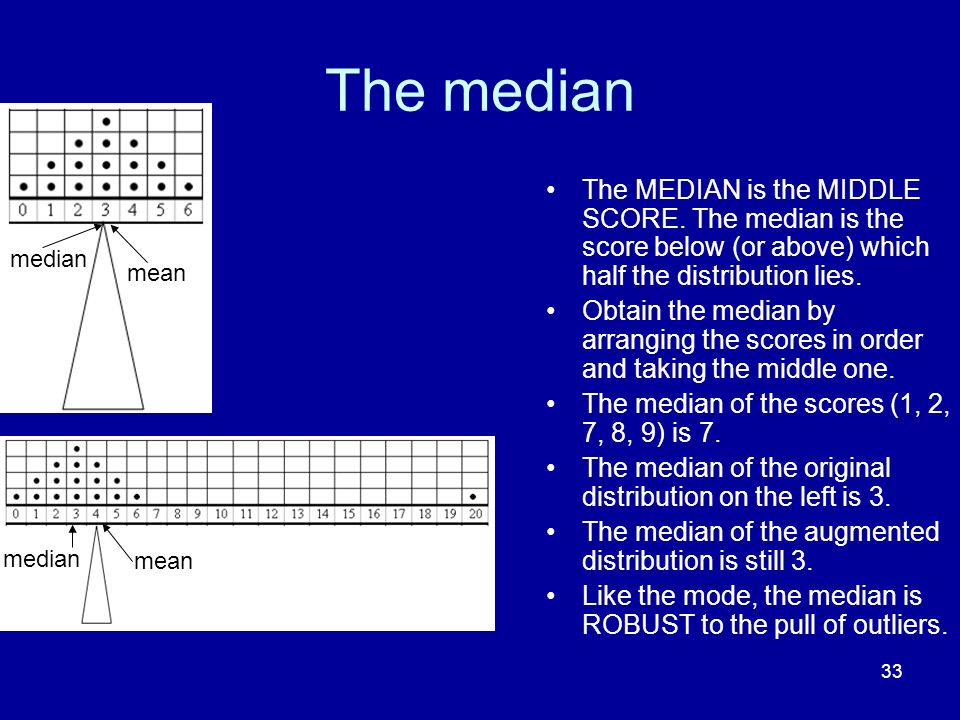 The median The MEDIAN is the MIDDLE SCORE. The median is the score below (or above) which half the distribution lies.