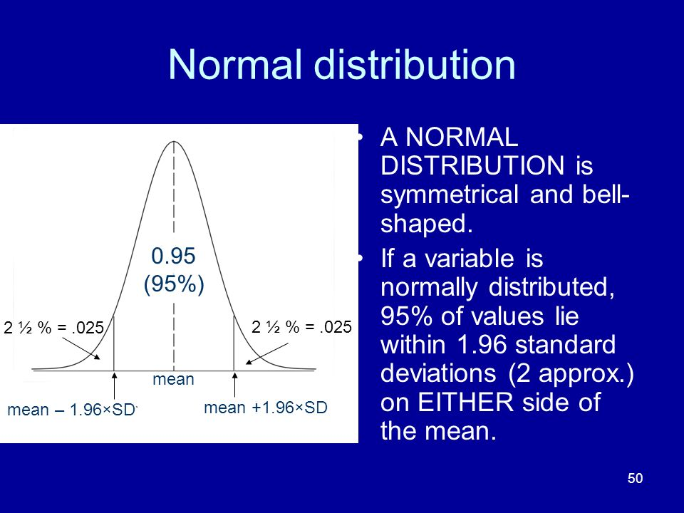 Normal distribution A NORMAL DISTRIBUTION is symmetrical and bell-shaped.