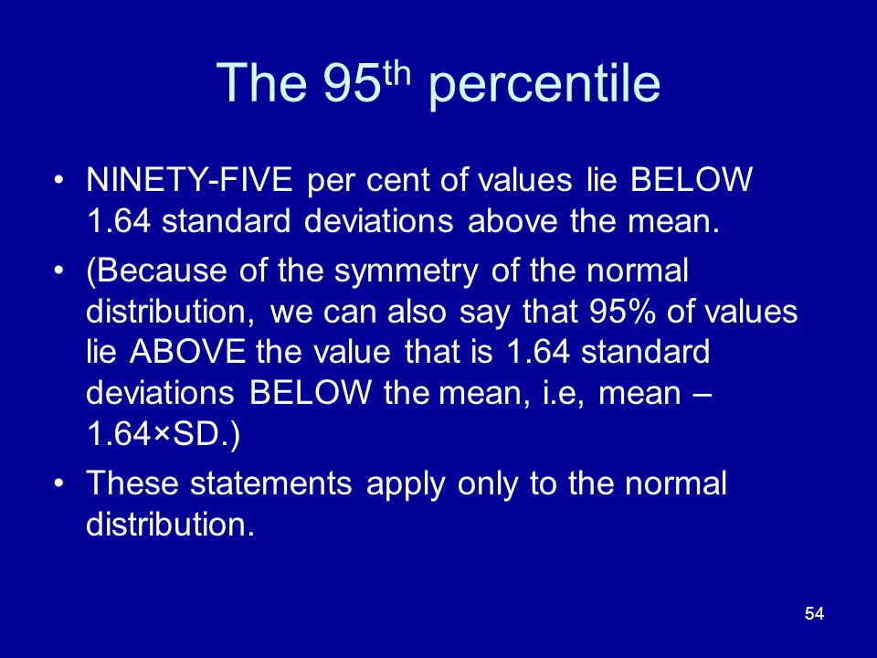 The 95th percentile NINETY-FIVE per cent of values lie BELOW 1.64 standard deviations above the mean.