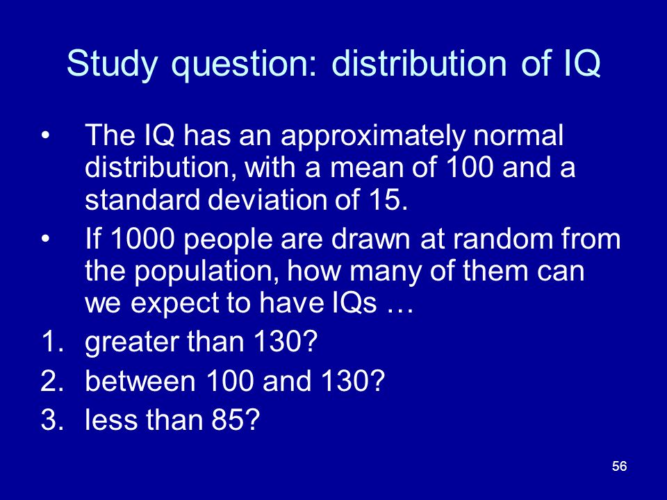 Study question: distribution of IQ