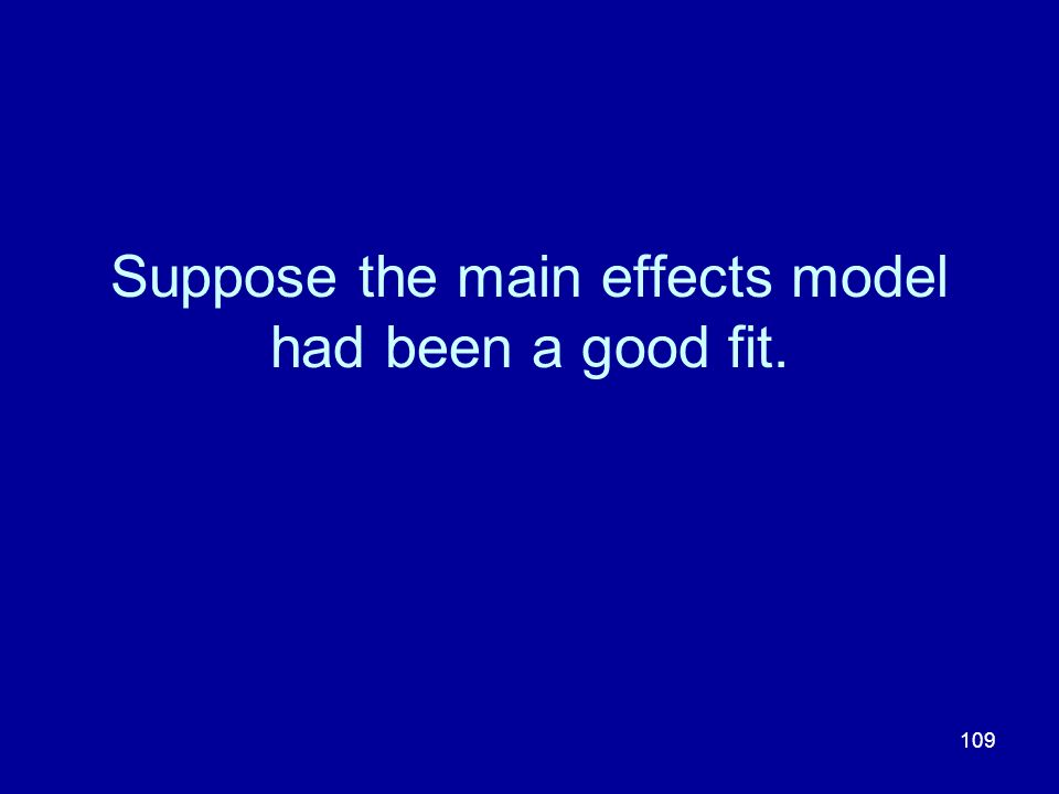 Suppose the main effects model had been a good fit.