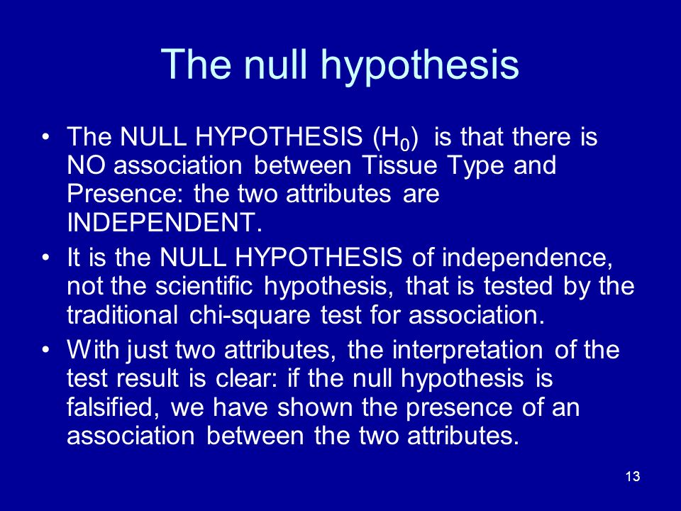 The null hypothesis The NULL HYPOTHESIS (H0) is that there is NO association between Tissue Type and Presence: the two attributes are INDEPENDENT.