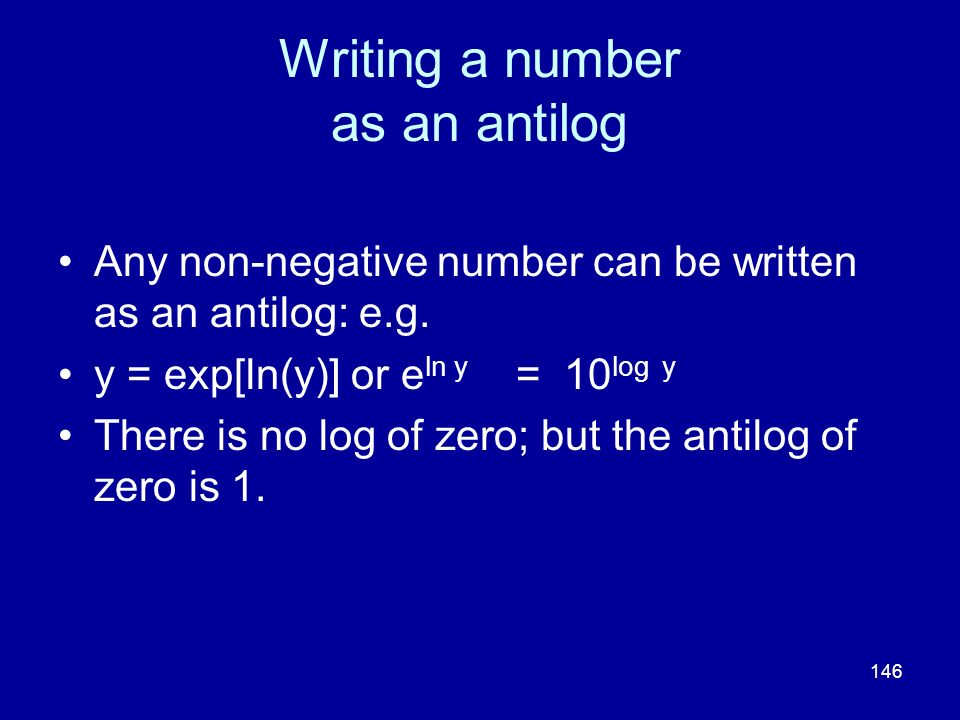 Writing a number as an antilog