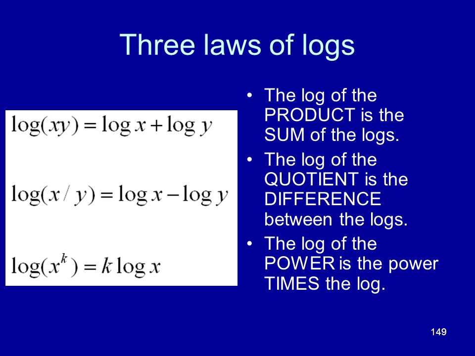 Three laws of logs The log of the PRODUCT is the SUM of the logs.