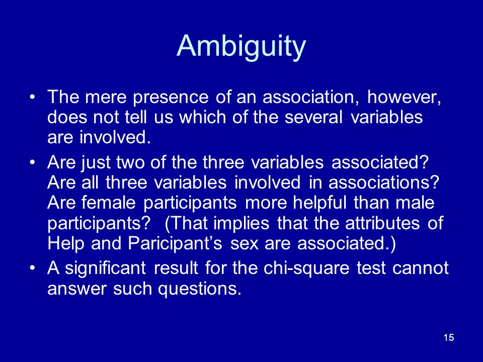 Ambiguity The mere presence of an association, however, does not tell us which of the several variables are involved.