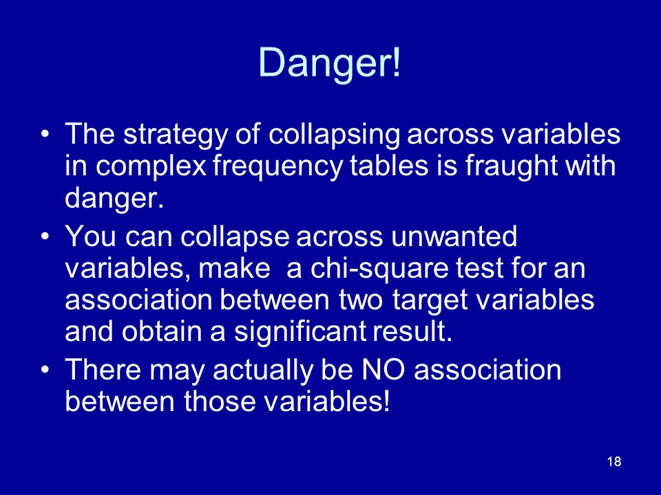 Danger! The strategy of collapsing across variables in complex frequency tables is fraught with danger.