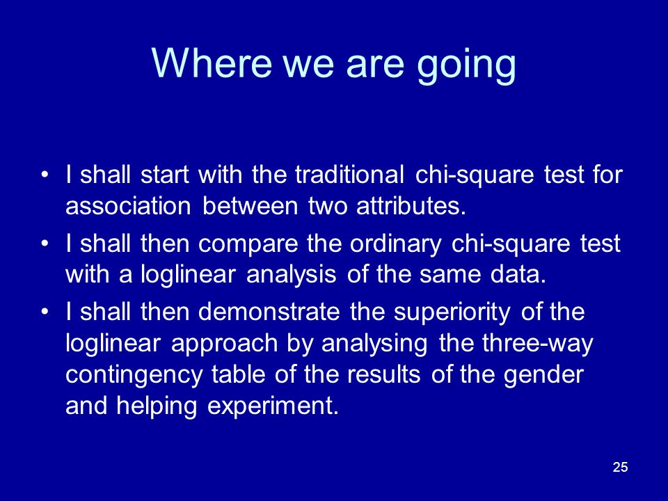 Where we are going I shall start with the traditional chi-square test for association between two attributes.