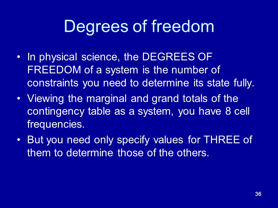 Degrees of freedom In physical science, the DEGREES OF FREEDOM of a system is the number of constraints you need to determine its state fully.