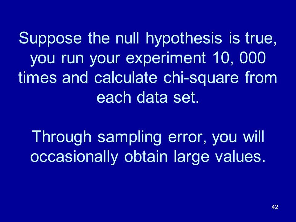 Suppose the null hypothesis is true, you run your experiment 10, 000 times and calculate chi-square from each data set.