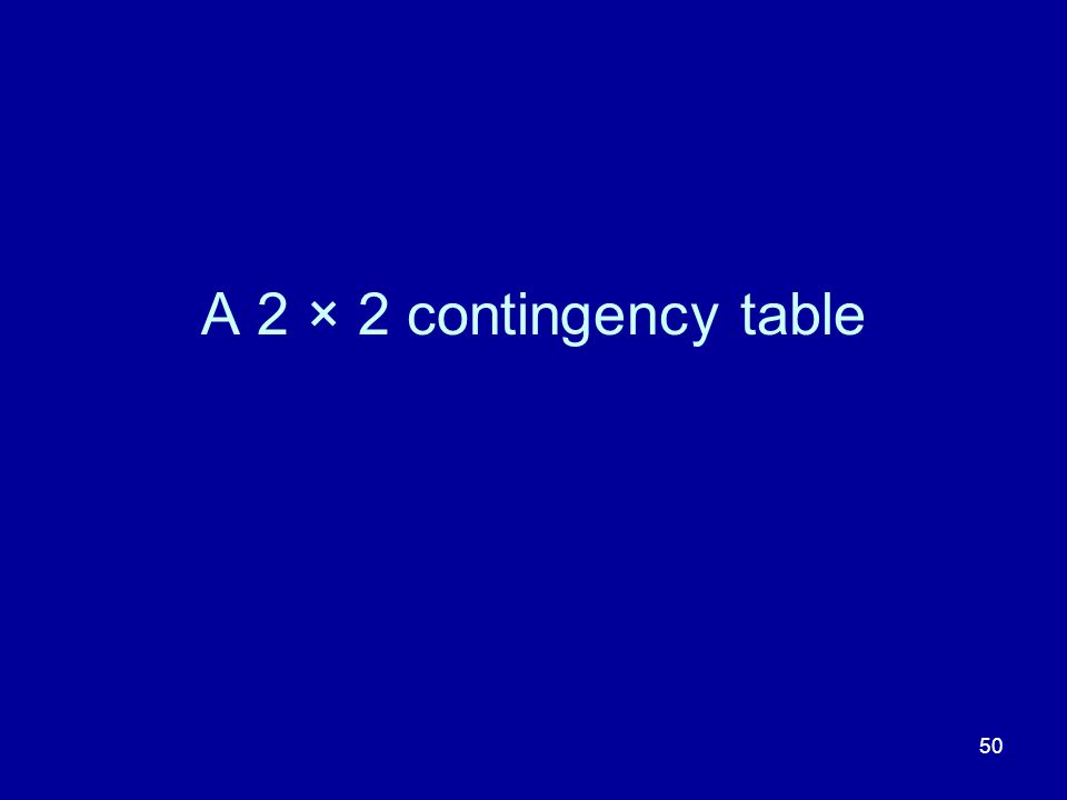 A 2 × 2 contingency table