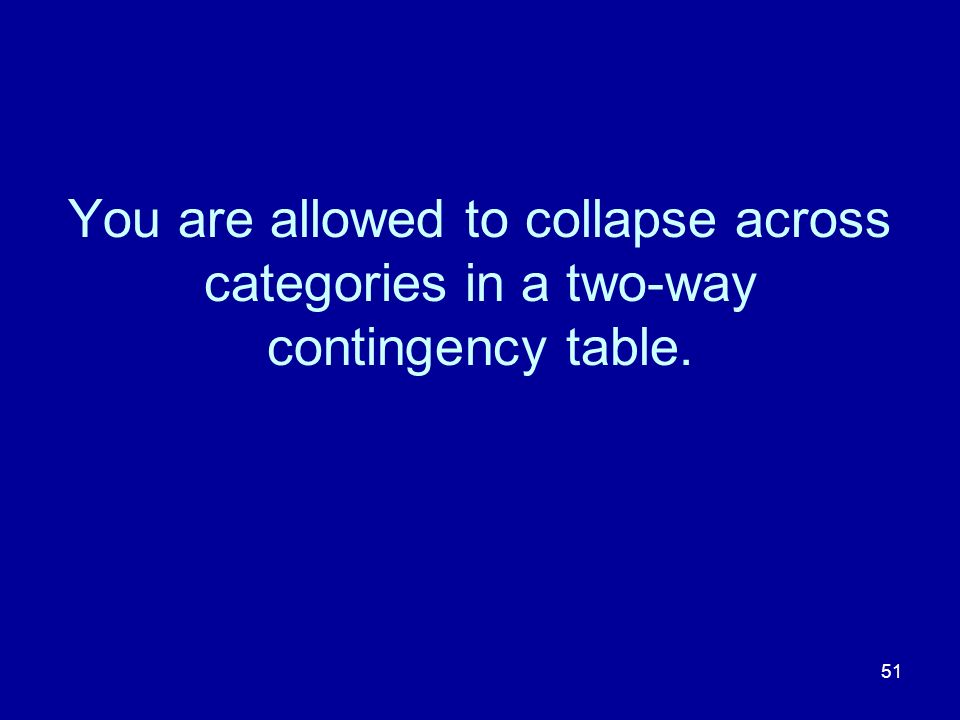 You are allowed to collapse across categories in a two-way contingency table.