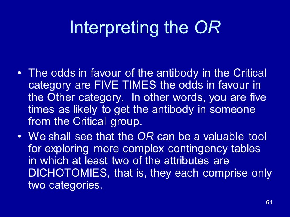 Interpreting the OR
