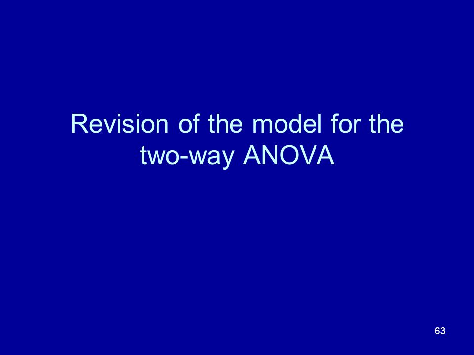 Revision of the model for the two-way ANOVA