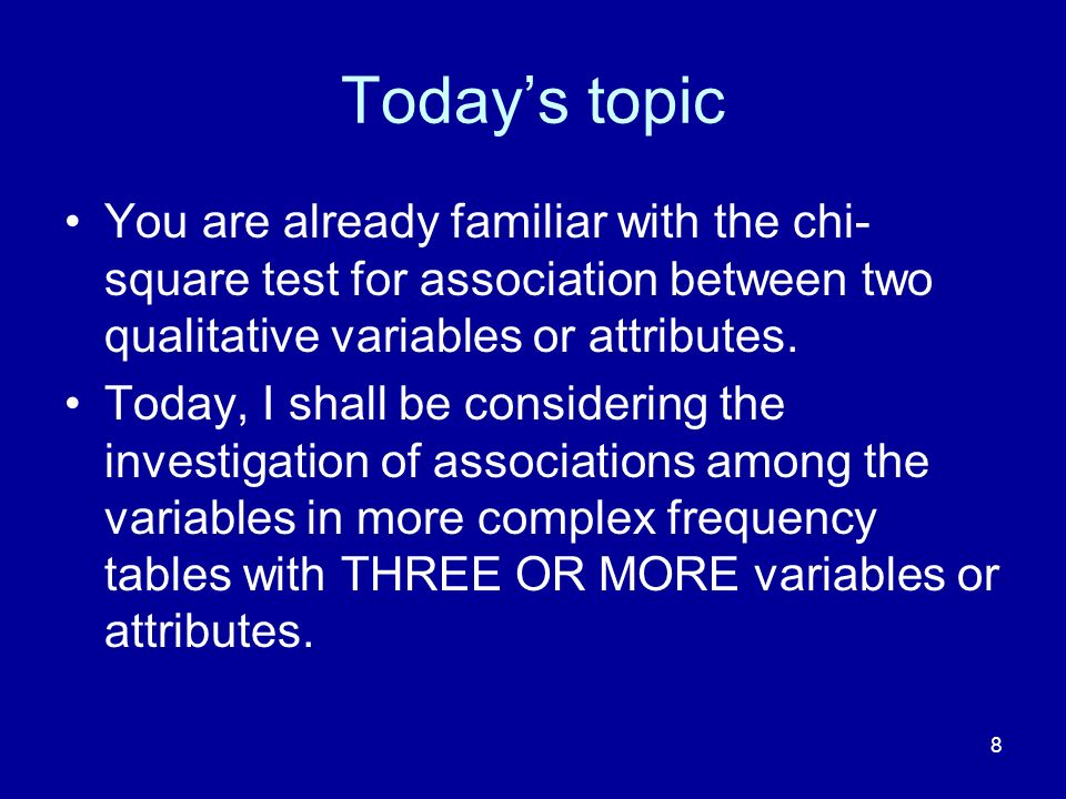 Today's topic You are already familiar with the chi-square test for association between two qualitative variables or attributes.