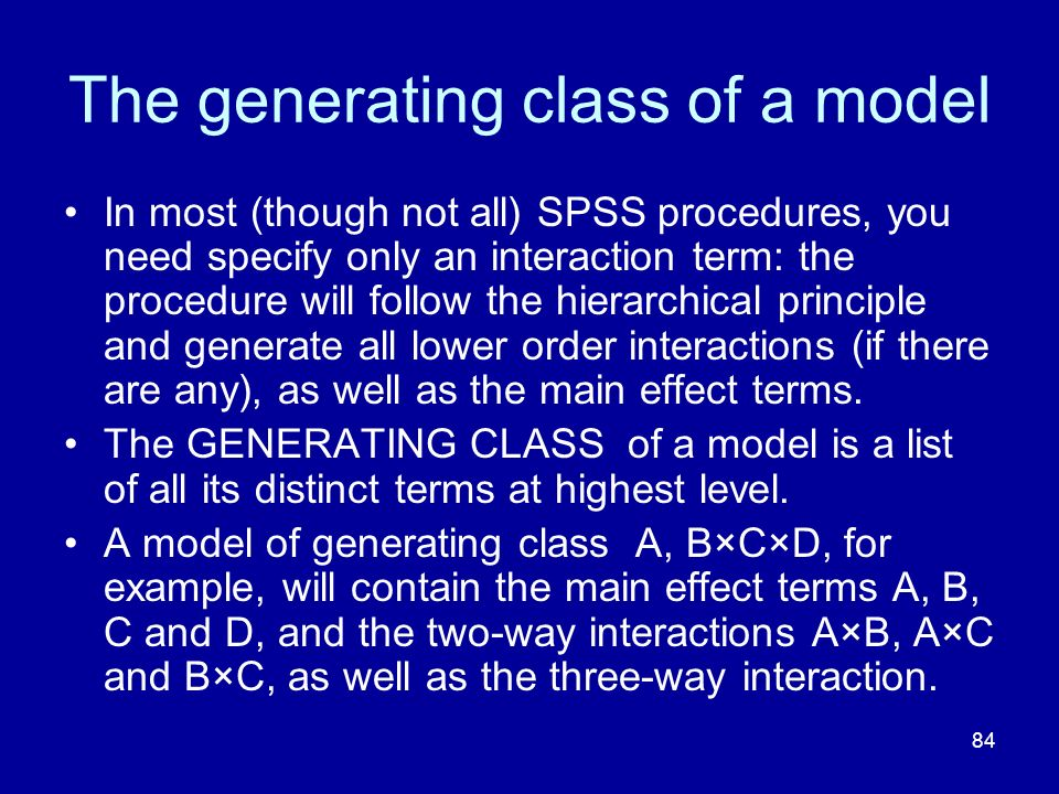 The generating class of a model