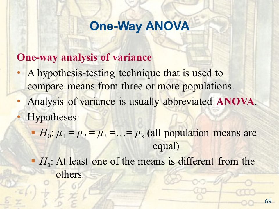 introduction to one way analysis of variance In statistics, one-way analysis of variance (abbreviated one-way anova) is a  technique that  introduction to the practice of statistics (4th ed) w h freeman .