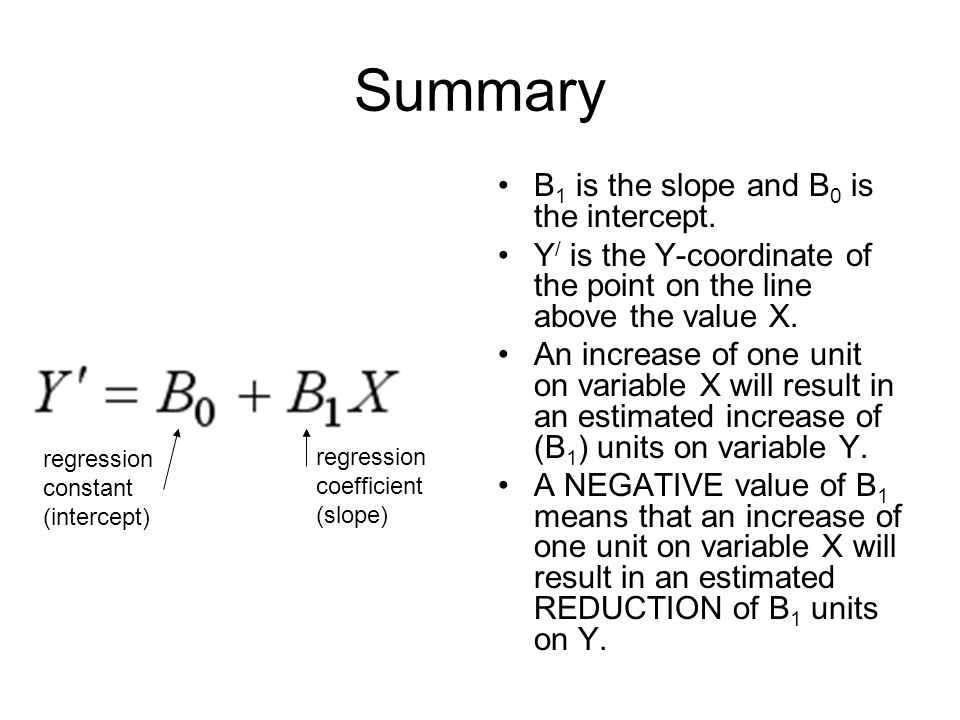 Summary B1 is the slope and B0 is the intercept.