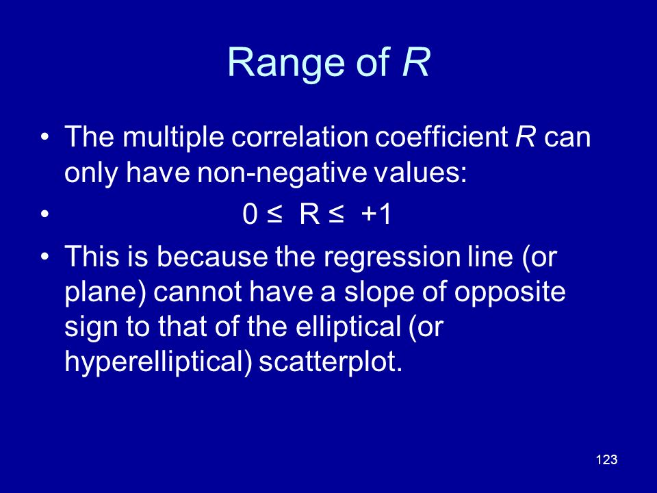 Range of R The multiple correlation coefficient R can only have non-negative values: 0 ≤ R ≤ +1.