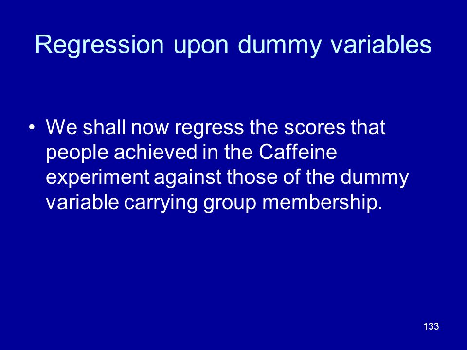 Regression upon dummy variables