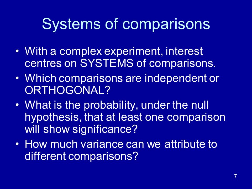 Systems of comparisons