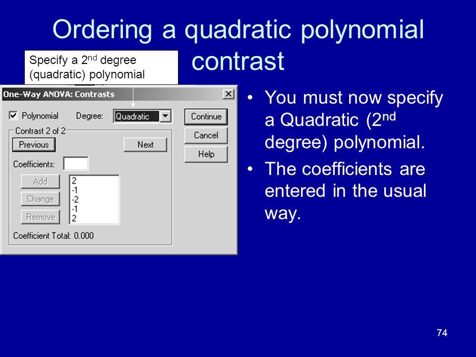 Ordering a quadratic polynomial contrast