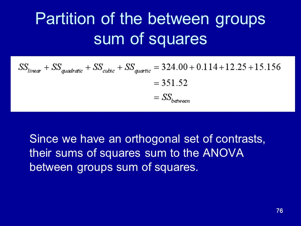 Partition of the between groups sum of squares