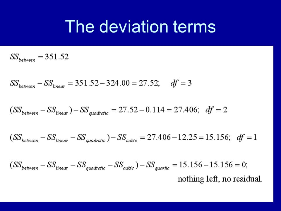 The deviation terms