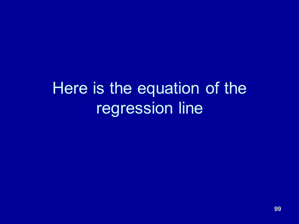 Here is the equation of the regression line