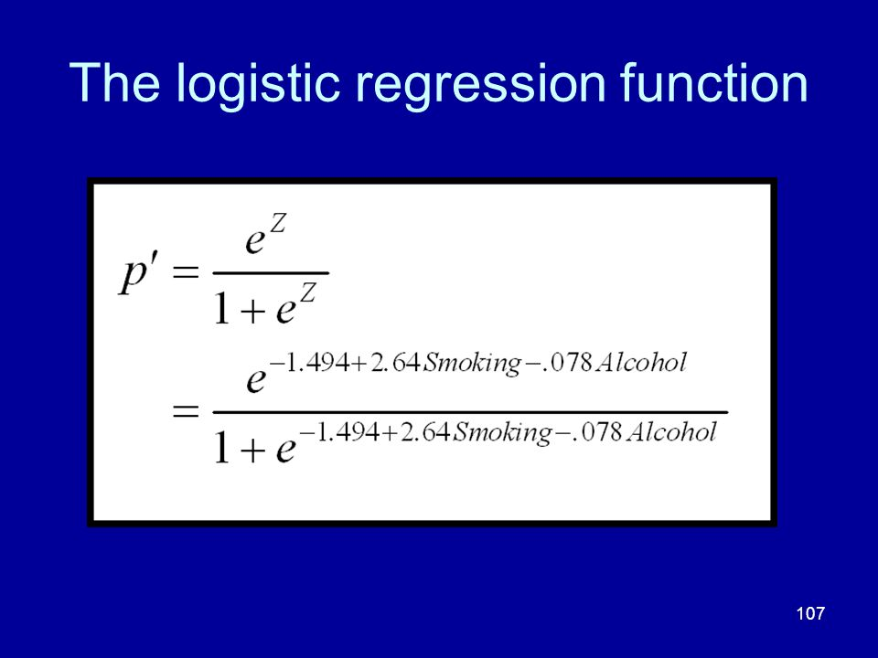 The logistic regression function