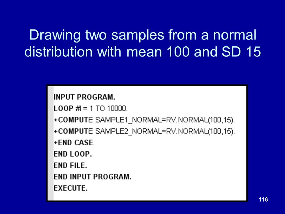 Drawing two samples from a normal distribution with mean 100 and SD 15