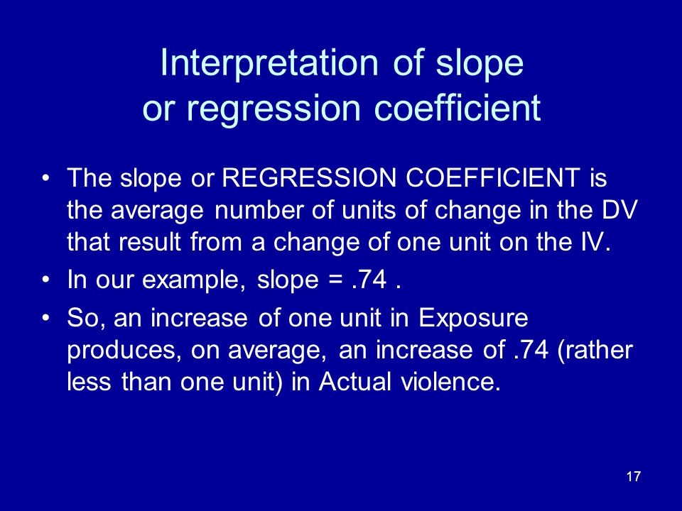 Interpretation of slope or regression coefficient